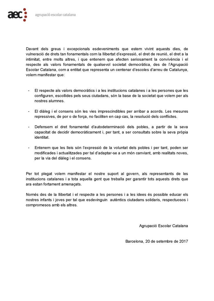 Carta davant la greu situació política