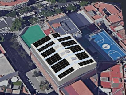 Simulació de la instal·lació de les plaques fotovoltaiques a la coberta del poliesportiu de Secundàira
