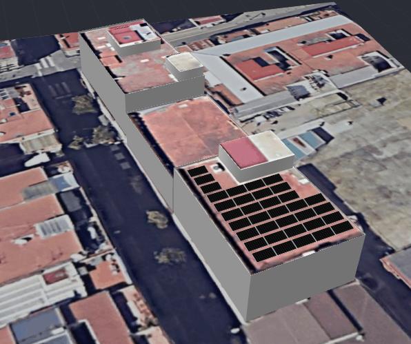 Simulació de la instal·lació de les plaques fotovoltaiques al terrat de l'edifici de Cicles formatius